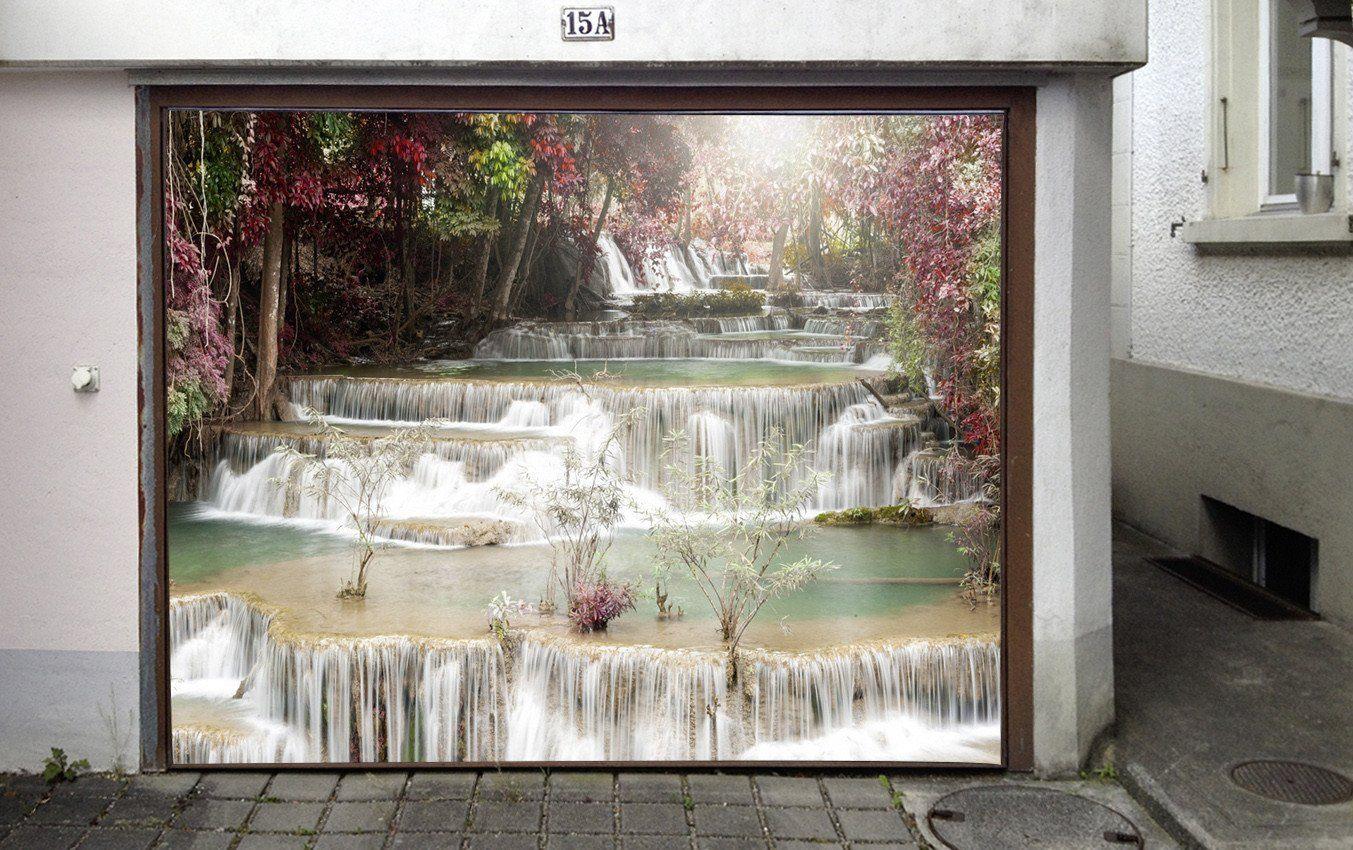 3D River Waterfalls 123 Garage Door Mural