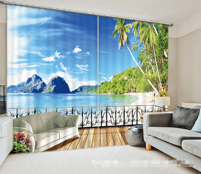 3D Balcony Sunny Beach 1336 Curtains Drapes