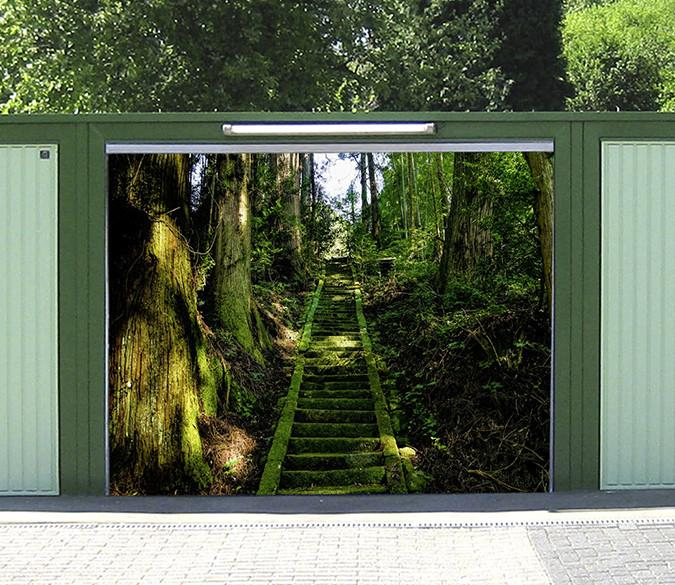 3D Forest Stone Stairs 159 Garage Door Mural