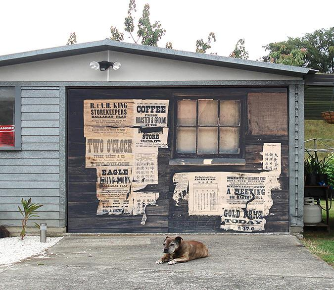 3D Wood Boards Newspaper 53 Garage Door Mural