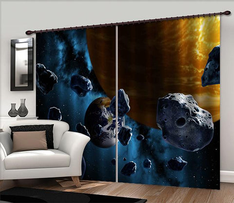 3D Space Planets Stones 2439 Curtains Drapes