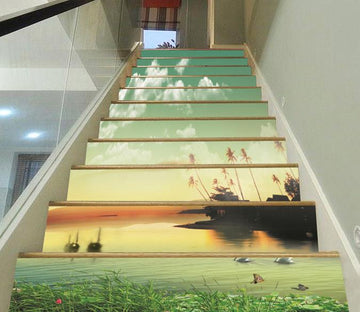 3D Lake Sunset Scenery 3 Stair Risers Wallpaper AJ Wallpaper