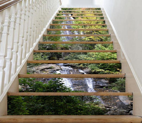3D Mountain Stream 9 Stair Risers