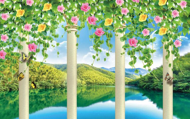 3D Green Lake And Flowers Wallpaper AJ Wallpaper 1
