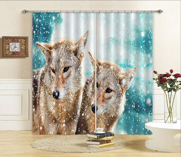 3D Snowing Field Wolves 773 Curtains Drapes Wallpaper AJ Wallpaper