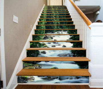3D Forest Stony River 379 Stair Risers Wallpaper AJ Wallpaper