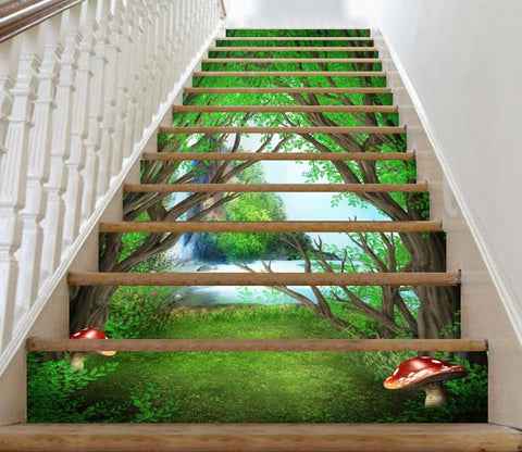 3D Forest Waterfall 3 Stair Risers