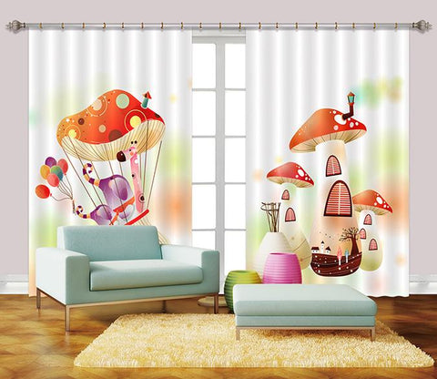 3D Mushroom Houses Balloon 2450 Curtains Drapes