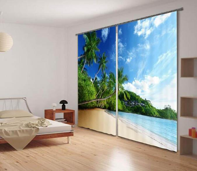 3D Beach Scenery 918 Curtains Drapes