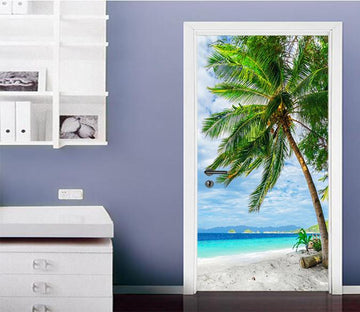 3D Beach Coconut Trees 63 Door Mural Wallpaper AJ Wallpaper