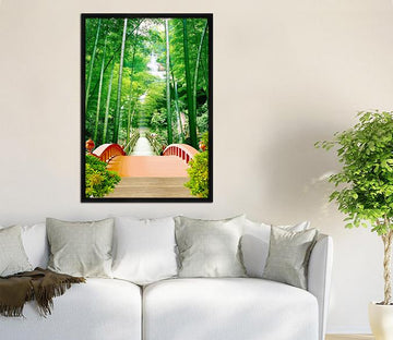 3D Bamboo Bridgen 066 Fake Framed Print Painting