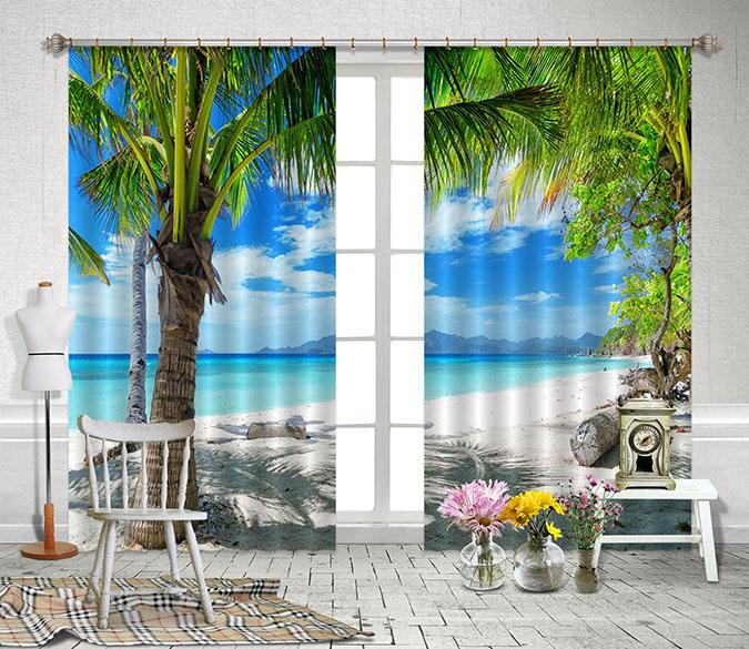 3D Beach Scenery 2227 Curtains Drapes