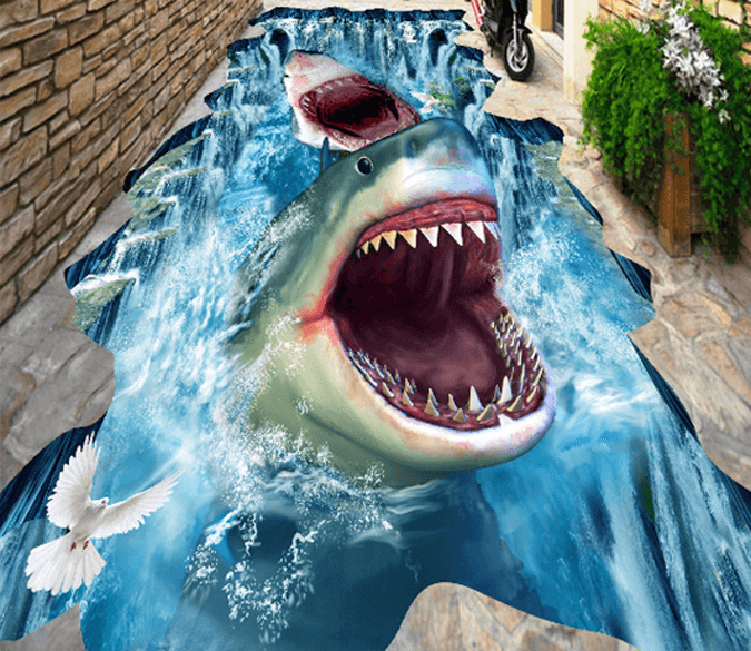 3d Sharks Floor Mural Aj Wallpaper