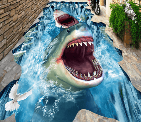 3D Sharks Floor Mural - AJ Walls - 1
