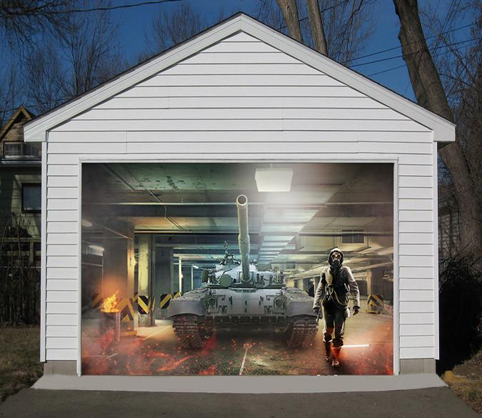 3D Big Tank 194 Garage Door Mural