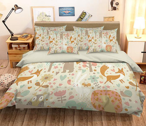 3D Animals Flowers Pattern 348 Bed Pillowcases Quilt