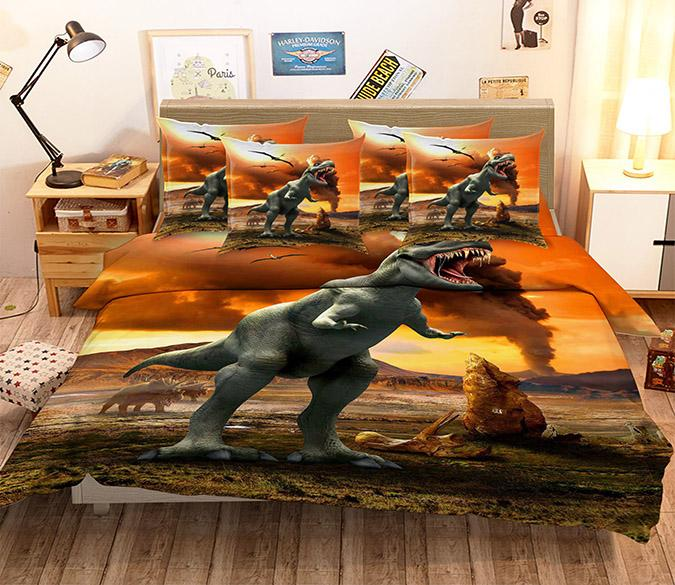 3D Dinosaurs Era 121 Bed Pillowcases Quilt