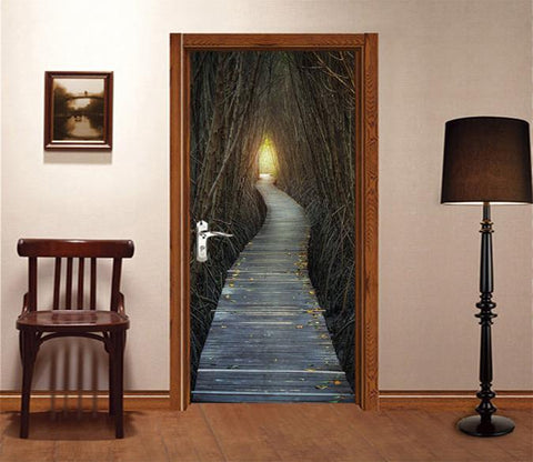 3D Bare Forest Wood Path Door Mural