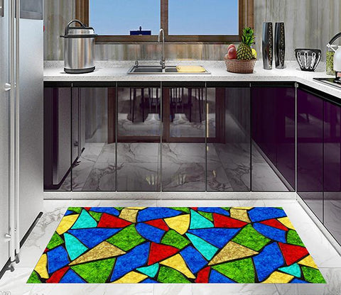 3D Color Blocks Pattern Kitchen Mat Floor Mural