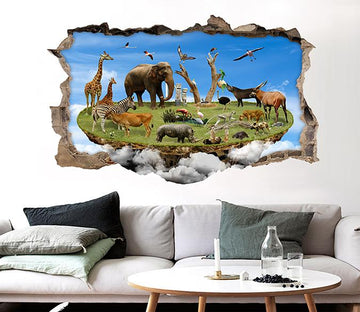 3D Animals Island 38 Broken Wall Murals Wallpaper AJ Wallpaper