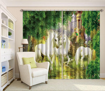 3D Unicorns Elf Castle 84 Curtains Drapes