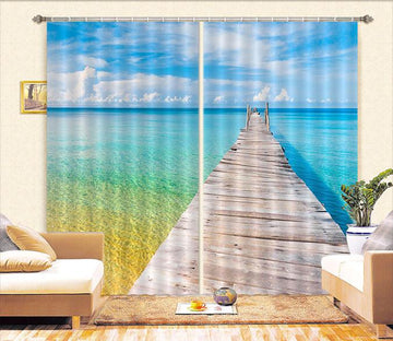 3D Sea Wooden Bridge 525 Curtains Drapes
