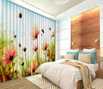 3D Flowers And Bee 284 Curtains Drapes