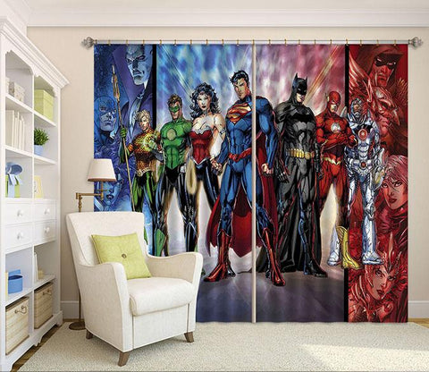 3D Cool Heros 2481 Curtains Drapes