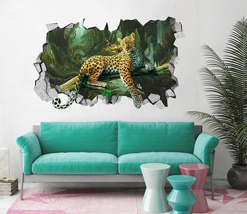 3D Forest Leopard 103 Broken Wall Murals Wallpaper AJ Wallpaper