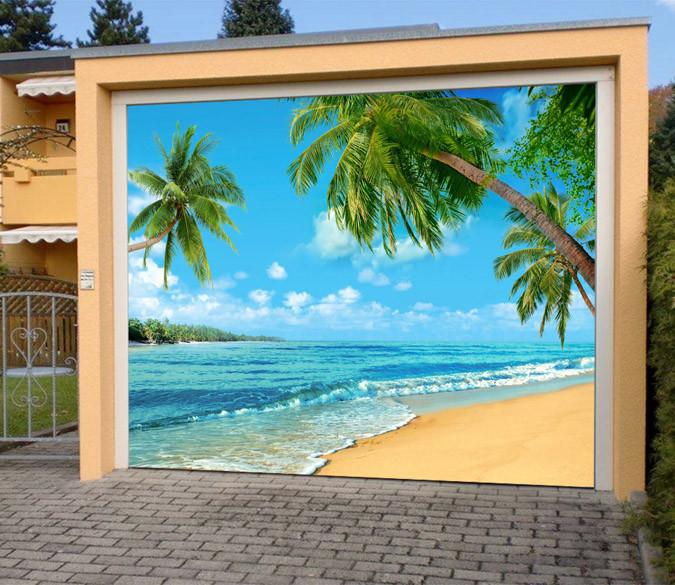 3D Beautiful Beach 402 Garage Door Mural