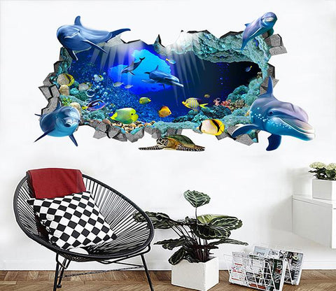 3D Ocean World 43 Broken Wall Murals
