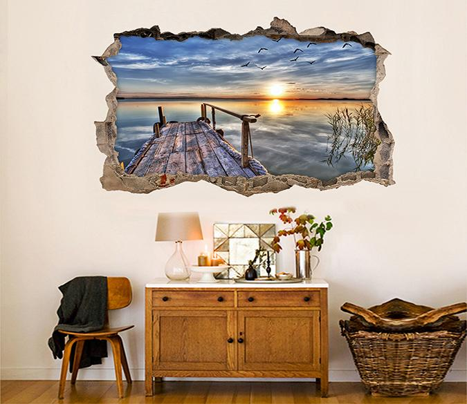3D Sea Wood Corridor Sunset 333 Broken Wall Murals Wallpaper AJ Wallpaper