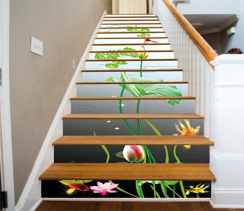 3D Fresh Lotus Flowers 4 Stair Risers