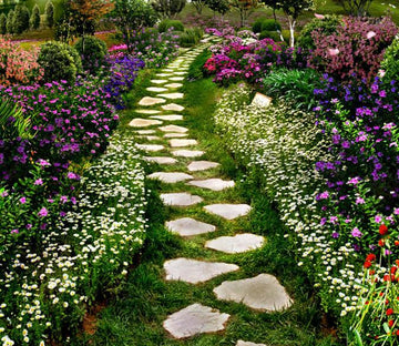 3D Garden Stone Path Floor Mural Wallpaper AJ Wallpaper 2