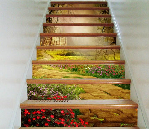 3D Castle Road Flowers 2 Stair Risers