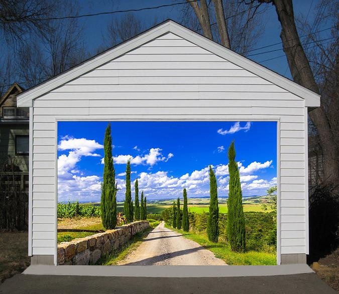 3D Roadside Cypress Trees 193 Garage Door Mural