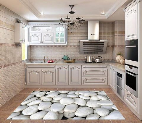 3D White Stones Kitchen Mat Floor Mural