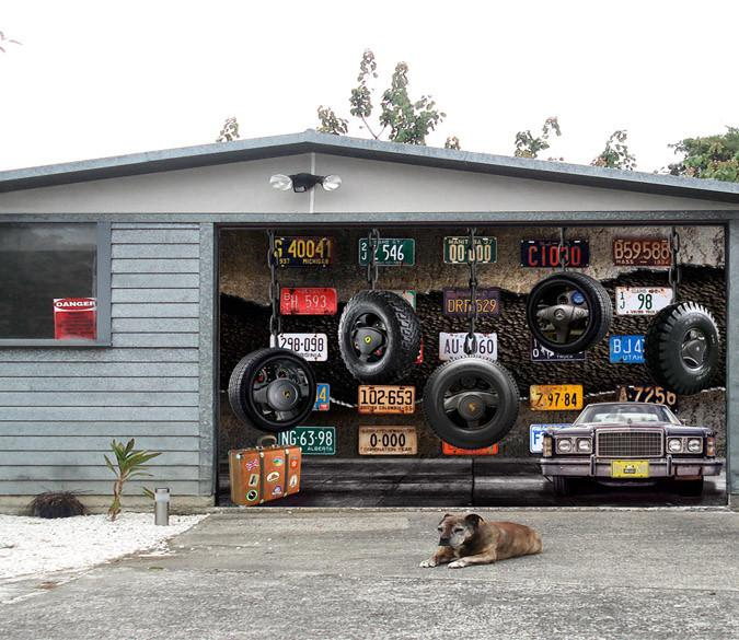 3D Car Tires License Plates 365 Garage Door Mural Wallpaper AJ Wallpaper