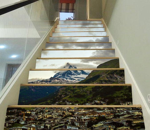 3D Pretty Mountain Town 14 Stair Risers