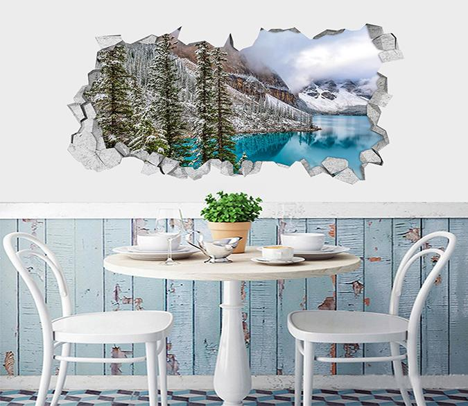 3D Snow Mountain Lake 055 Broken Wall Murals Wallpaper AJ Wallpaper