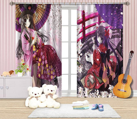 3D Cartoon Girls 2451 Curtains Drapes