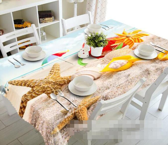 3D Beach Shells Starfishes 1484 Tablecloths