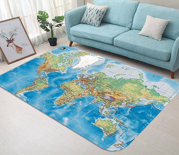 3D World Map 63 Non Slip Rug Mat
