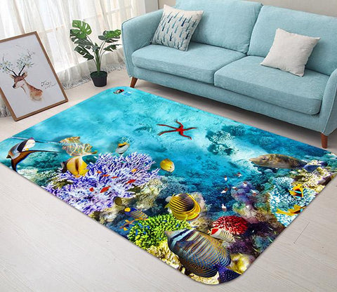 3D Bright Seabed 101 Non Slip Rug Mat