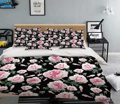 3D Pink Flowers Pattern 333 Bed Pillowcases Quilt
