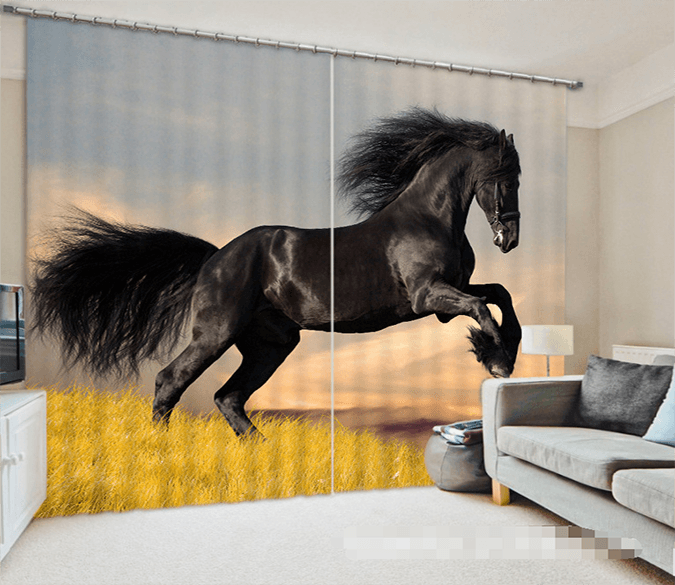 3D Black Horse 1029 Curtains Drapes