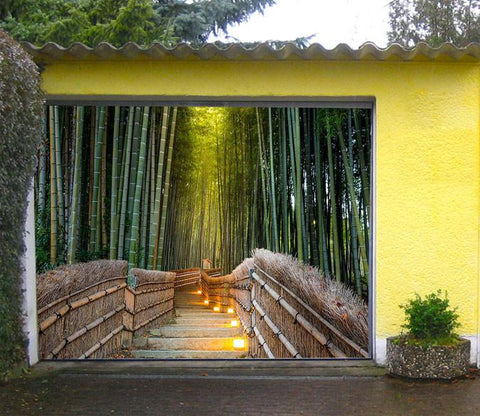 3D Bamboo Forest Stairs 378 Garage Door Mural
