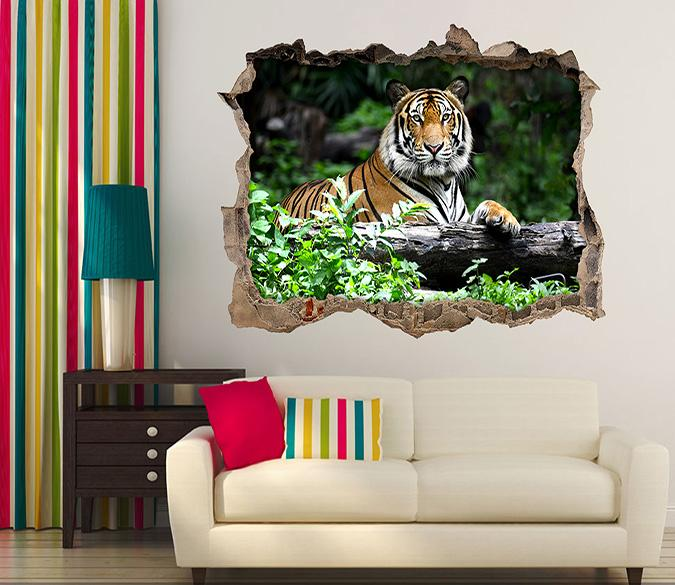 3D Resting Tiger 033 Broken Wall Murals Wallpaper AJ Wallpaper