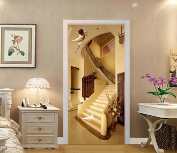 3D Stairs Angel Bird 88 Door Mural Wallpaper AJ Wallpaper