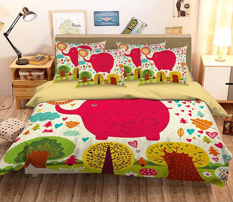 3D Elephant Pattern 339 Bed Pillowcases Quilt